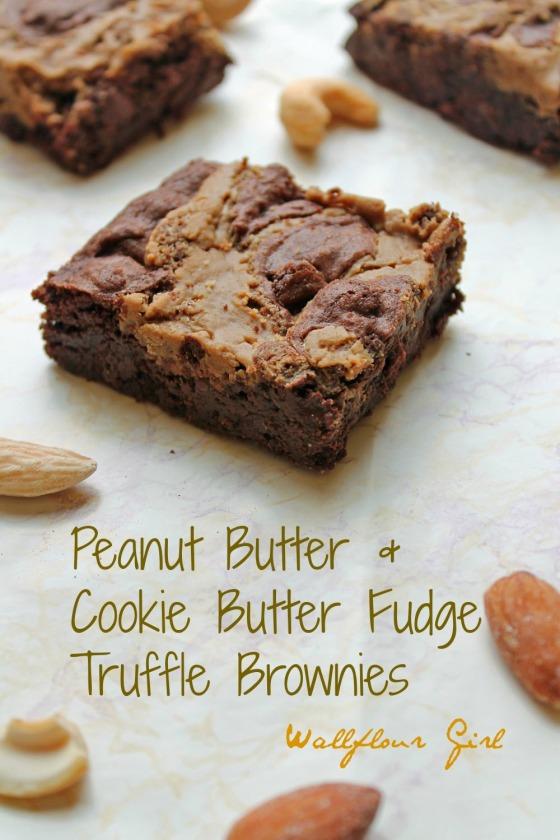 Peanut Butter & Cookie Butter Fudge Truffle Brownies | Wallflour Girl
